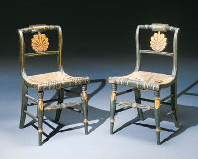 A PAIR OF PAINTED, STENCILLED