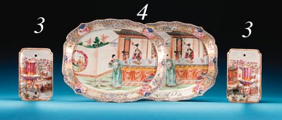 A PAIR OF FAMILLE ROSE PLATTER