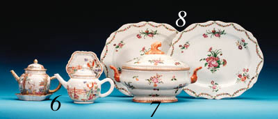 TWO FAMILLE ROSE TEAPOTS, COVE