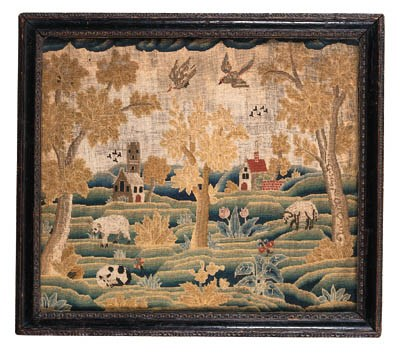 A WOOL-ON-LINEN NEEDLEWORK PIC