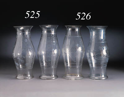 TWO ETCHED BLOWN-GLASS HURRICA