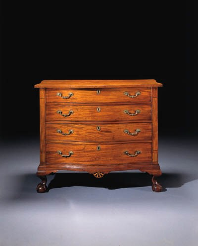 A CHIPPENDALE CARVED AND INLAI