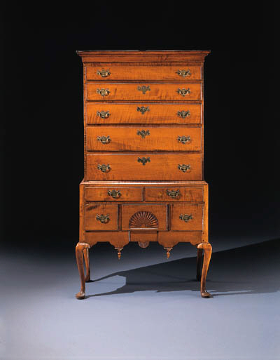 A QUEEN ANNE CARVED MAPLE HIGH