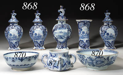 TWO DELFT BLUE AND WHITE BOWLS