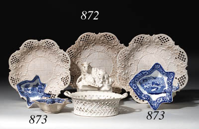 FIVE STAFFORDSHIRE PEARLWARE L
