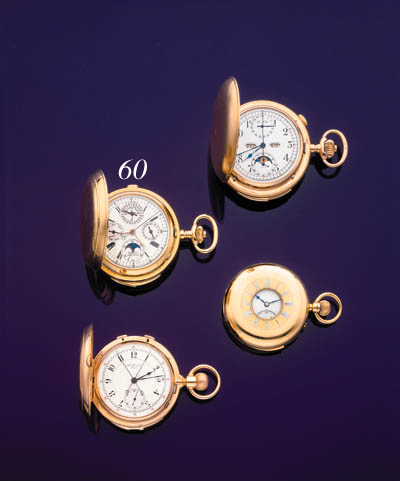 ULYSSE NARDIN. AN 18K GOLD MINUTE REPEATING PERPETUAL CALENDAR KEYLESS LEVER CHRONOGRAPH WATCH WITH LATER CASE