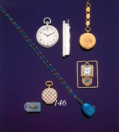 VACHERON AND CONSTANTIN.  AN 18K GOLD, ENAMEL AND DIAMOND-SET OPENFACE KEYLESS LEVER WATCH