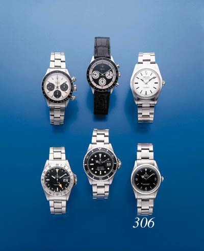 ROLEX.  A STAINLESS STEEL SELF-WINDING WATERPROOF WRISTWATCH WITH SWEEP SECONDS AND BRACELET