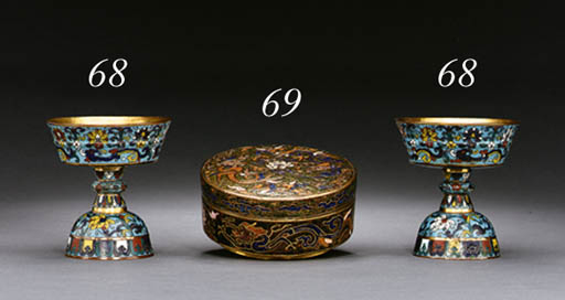A RARE CHAMPLEV ENAMEL BOX AND