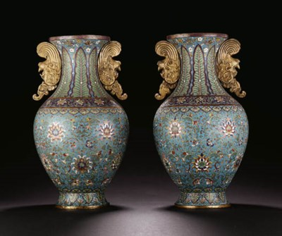 A PAIR OF LARGE CLOISONN ENAME