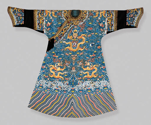 A TURQUOISE-GROUND EMBROIDERED