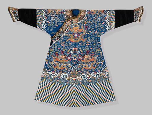 A BLUE-GROUND KESI DRAGON ROBE