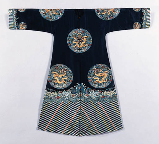 A BLACK-GROUND EMBROIDERED SIL