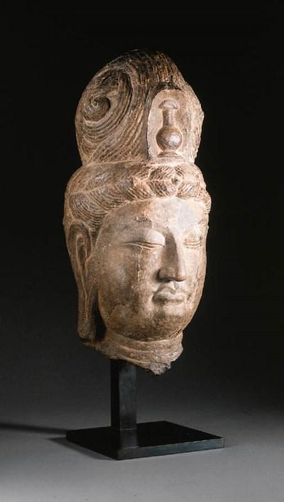 A GREY STONE HEAD OF A BODHISA