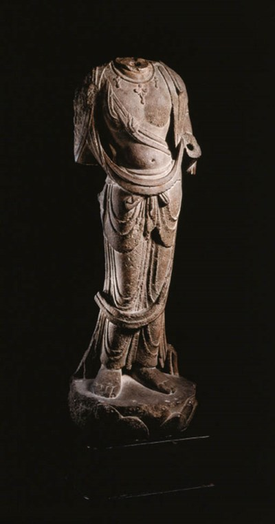 A RARE WELL-CARVED GREY STONE