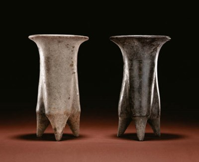 TWO LATE NEOLITHIC GREY POTTER