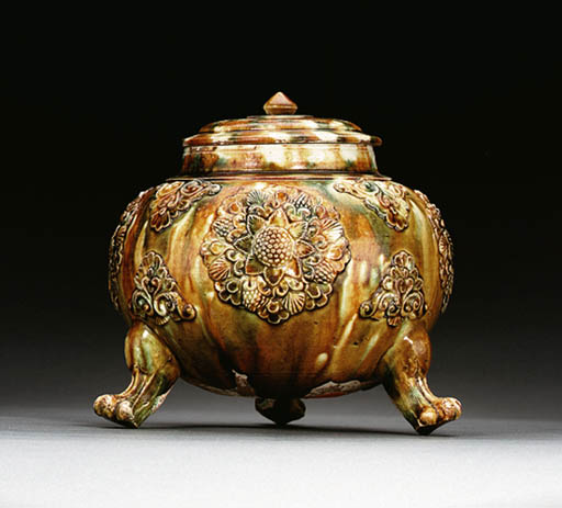 A WELL-MOLDED SANCAI-GLAZED PO
