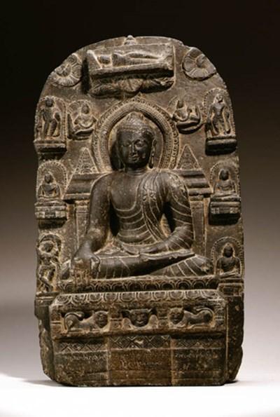A black stone stele of Buddha