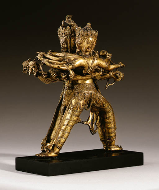 A gilt-bronze figural group of