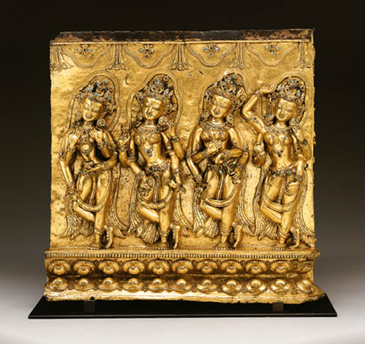 A gilt bronze frieze