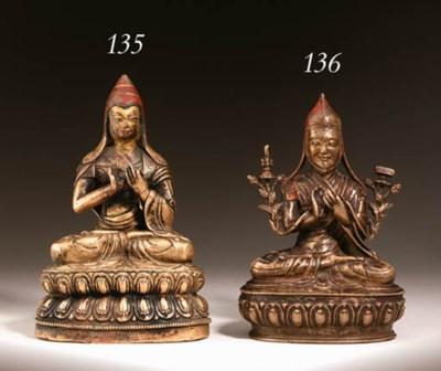 A bronze figure of Tsong Khapa