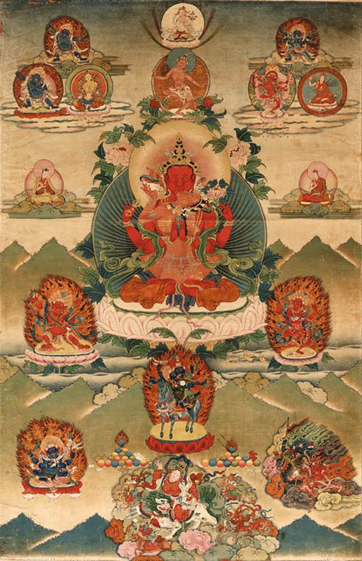 A thanka of Avalokiteshvara