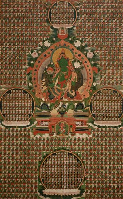 A large thanka of Green Tara