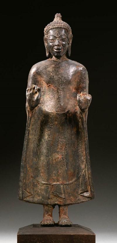 A bronze figure of a Buddha