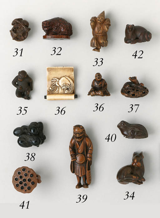 TWO WOOD NETSUKE