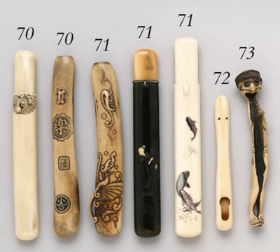 A MARINE IVORY PIPECASE AND A