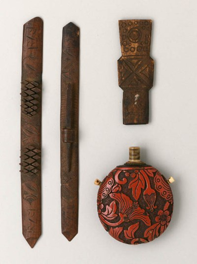 THREE AINU WOOD CARVINGS AND A