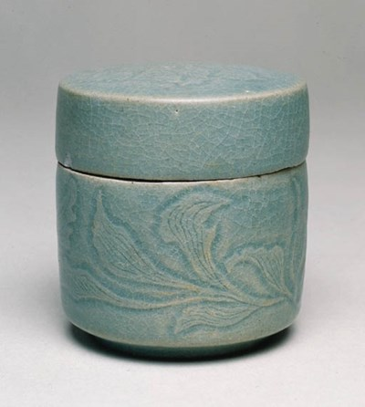 A CELADON JAR AND COVER