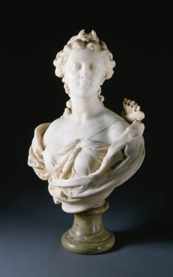 A FRENCH MARBLE BUST OF DIANA