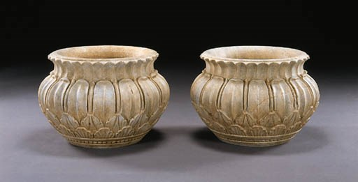 A PAIR OF INDIAN WHITE MARBLE