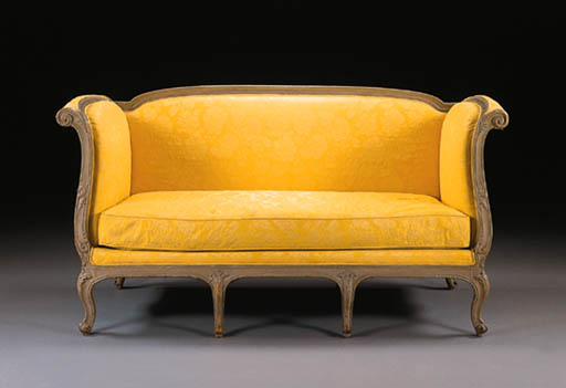 A LOUIS XV GREY-PAINTED LIT D'