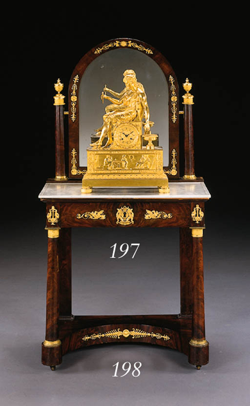 A RESTAURATION ORMOLU-MOUNTED MAHOGANY DRESSING TABLE