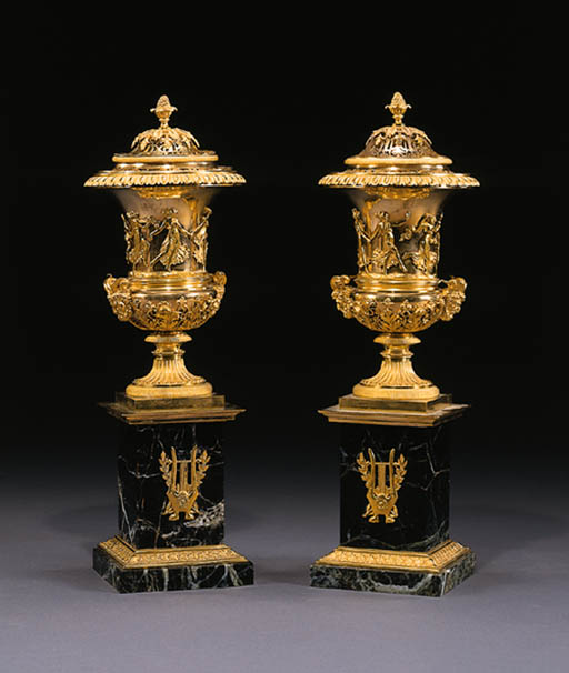 A PAIR OF FRENCH ORMOLU AND VERDE ANTICO MARBLE BRLE PARFUMS