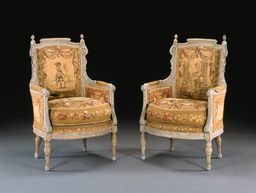 A PAIR OF LOUIS XVI BLUE AND W