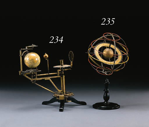A GERMAN BRASS, POLYCHROME-PAINTED AND EBONIZED ARMILLARY SPHERE