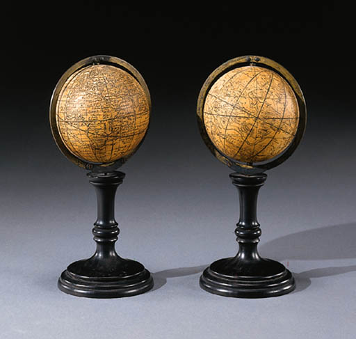 A PAIR OF GERMAN TABLE GLOBES