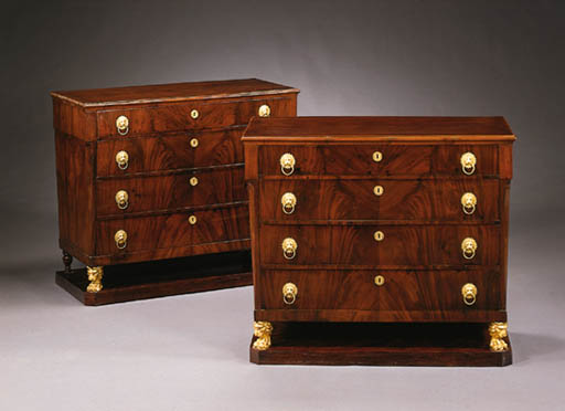 A PAIR OF BALTIC NEOCLASSIC MAHOGANY AND PARCEL-GILT COMMODES