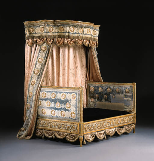 A NORTH ITALIAN NEOCLASSIC PARCEL-GILT AND BLUE-PAINTED BED