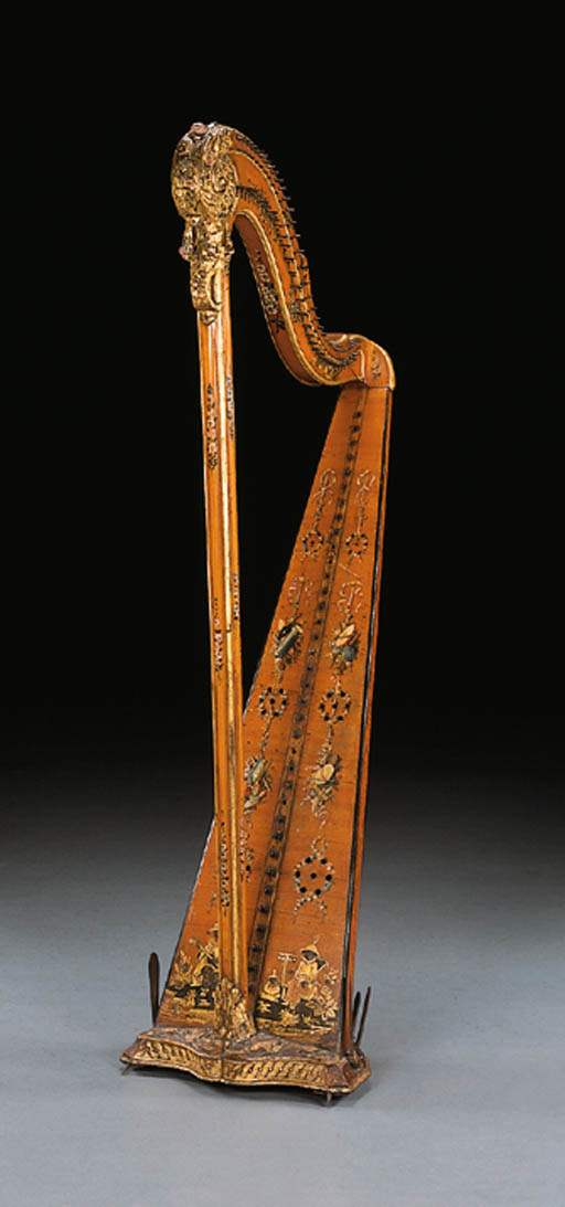 A LOUIS XVI FRUITWOOD, VERNIS-MARTIN AND PARCEL-GILT SINGLE-ACTION PEDAL HARP