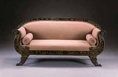 A CONTINENTAL BLACK AND GILT-J
