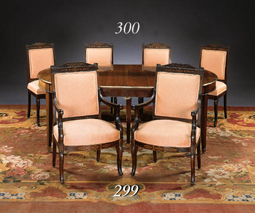 A SET OF SIX LOUIS PHILIPPE ROSEWOOD AND MARQUETRY DINING-CHAIRS