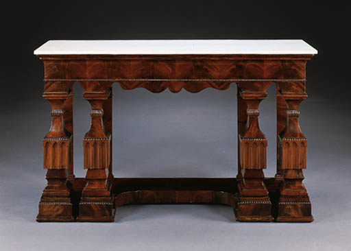 A PAIR OF CONTINENTAL NEOCLASSIC MAHOGANY SIDE TABLES
