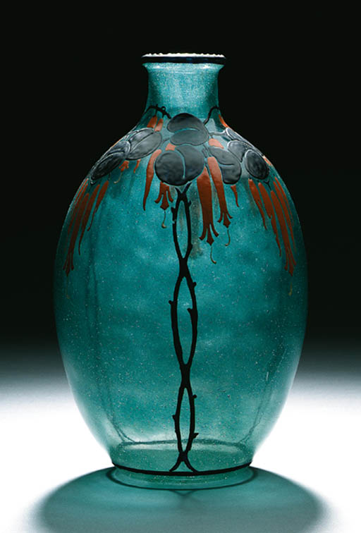 AN ENAMELED GLASS VASE