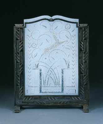 AN ETCHED GLASS AND WROUGHT-IR
