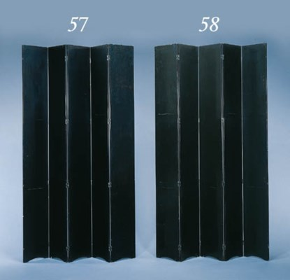 A LARGE FIVE PANEL BLACK LACQU