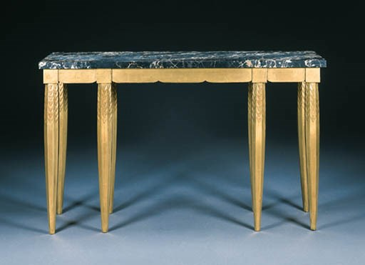 A GILTWOOD AND MARBLE CONSOLE